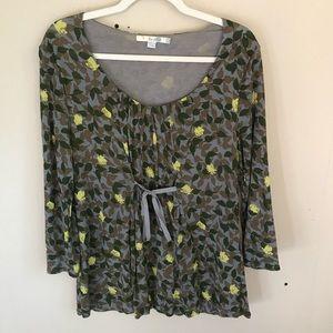 Boden Gray & Green Floral Tie Waist 3/4 Sleeve Top